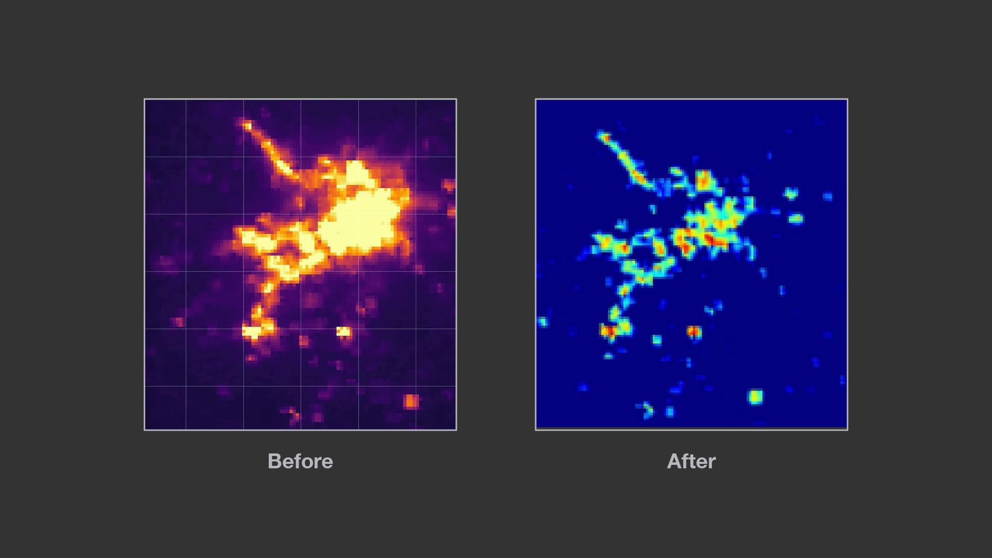 Left: Composite image before filtering for nightlights. Right:Composite image after filtering out nightlights, showing settlement level electrification
