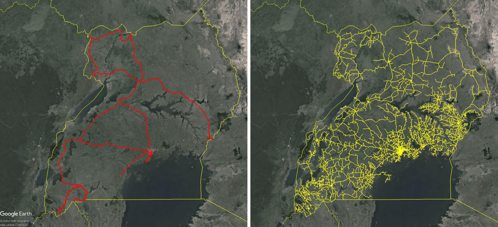 Maps of Uganda comparing the extent of the total fiber footprint (shown in red) and the MV power lines (shown in yellow). Sources: EnergyData.info, Itu.int, Ucc.co.ug, Google Earth